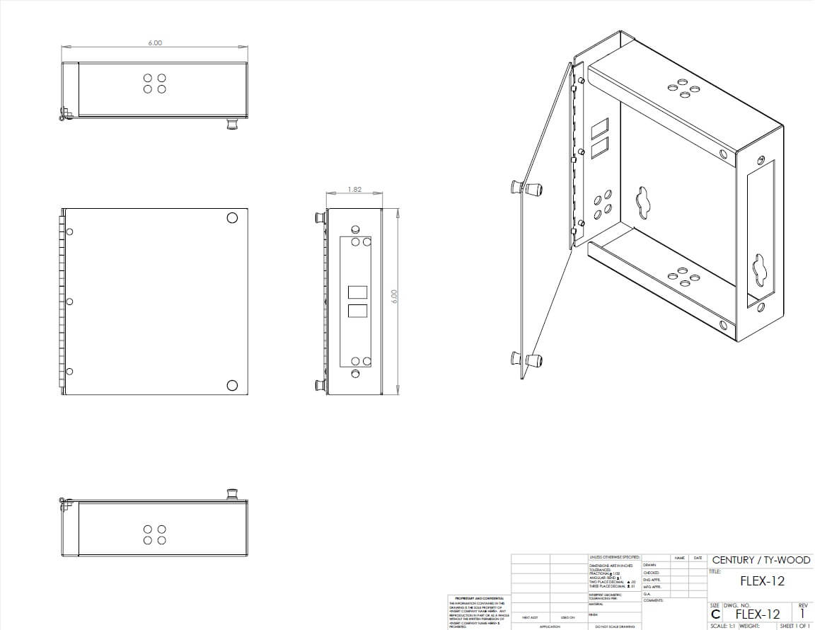 flx tm splice and termination fiber optic wall mount